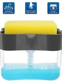2 in 1 Soap Pump Dispenser with Sponge Holder Press Compact Storage for Dish Soap Lotion and Sponge